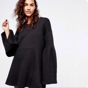 Free People | Black Bell Sleeve Sweatshirt Tunic